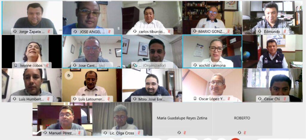 Videoconferencia realizada entre los dieciocho tecnológicos participantes del acuerdo.